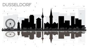 Γραπτή σκιαγραφία οριζόντων πόλεων του Ντίσελντορφ Γερμανία με Στοκ Εικόνες