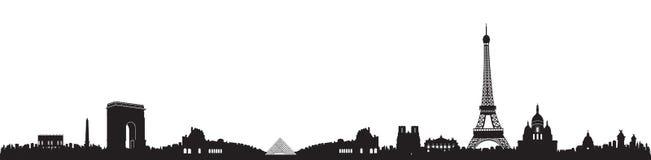 Γραπτή σκιαγραφία οριζόντων του Παρισιού διανυσματική απεικόνιση
