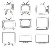 Γραπτή συσκευή τηλεόρασης 9 στοιχείων τέχνης γραμμών ελεύθερη απεικόνιση δικαιώματος