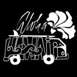 Γραπτή τυπωμένη ύλη κυματωγών Aloha Χαβάη Handdrawn εγγραφή με έναν minivan Διανυσματική απεικόνιση λεωφορείων Αφίσα τυπογραφίας Στοκ φωτογραφία με δικαίωμα ελεύθερης χρήσης
