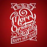 Γραπτή χέρι κάρτα Χαρούμενα Χριστούγεννας Στοκ Εικόνες