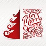 Γραπτή χέρι κάρτα Χαρούμενα Χριστούγεννας Στοκ Εικόνα