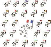 Γραπτοί ποδοσφαιριστές με τη σφαίρα και τις χρωματισμένες σημαίες, οι λεπτές μαύρες γραμμές, διάνυσμα, εικονίδια Στοκ Εικόνες