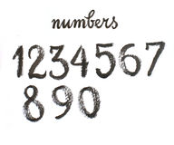 Γραπτοί χέρι μαύροι αριθμοί Watercolor απεικόνιση αποθεμάτων