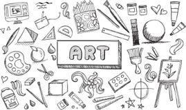 Γραπτός εξοπλισμός Καλών Τεχνών και στάσιμο εικονίδιο doodle απεικόνιση αποθεμάτων