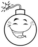 Γραπτός ευτυχής χαρακτήρας μασκότ κινούμενων σχεδίων προσώπου βομβών με τις εκφράσεις χαμόγελου διανυσματική απεικόνιση