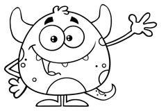 Γραπτός ευτυχής χαρακτήρας Emoji κινούμενων σχεδίων τεράτων που κυματίζει για το χαιρετισμό Ελεύθερη απεικόνιση δικαιώματος