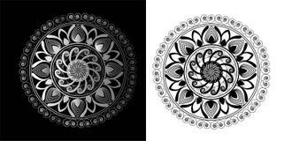 Γραπτός κύκλος Mandala της μορφής λουλουδιών Στοκ φωτογραφίες με δικαίωμα ελεύθερης χρήσης
