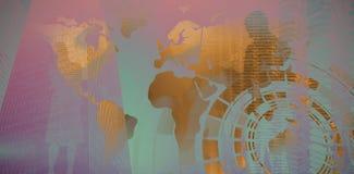 Γραπτός παγκόσμιος χάρτης ενάντια στη σύνθετη εικόνα της άποψης της τεχνολογίας στοιχείων Στοκ φωτογραφία με δικαίωμα ελεύθερης χρήσης