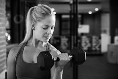 Γραπτός πυροβολισμός της γυναίκας σε βάρη χεριών ανύψωσης γυμναστικής Στοκ φωτογραφίες με δικαίωμα ελεύθερης χρήσης