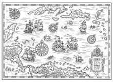 Γραπτός χάρτης πειρατών της καραϊβικής θάλασσας με τα παλαιά σκάφη, τα νησιά και τα πλάσματα φαντασίας απεικόνιση αποθεμάτων