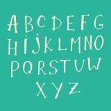 Γραπτός χέρι τύπος χαρακτήρων Σύγχρονο ύφος εγγραφής χεριών Πλήρης έκδοση Στοκ Εικόνες