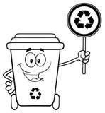 Γραπτός χαριτωμένος ανακύκλωσης χαρακτήρας μασκότ κινούμενων σχεδίων δοχείων που κρατά ένα ανακύκλωσης σημάδι απεικόνιση αποθεμάτων