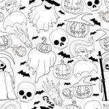 Γραπτό άνευ ραφής σχέδιο αποκριών Κορίτσι βαμπίρ, φάντασμα, π απεικόνιση αποθεμάτων