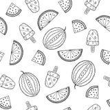 Γραπτό άνευ ραφής σχέδιο με τα αφηρημένα καρπούζια και το παγωτό ελεύθερη απεικόνιση δικαιώματος