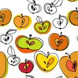 Γραπτό άνευ ραφής σχέδιο μήλων με τα σημεία χρώματος διανυσματική απεικόνιση