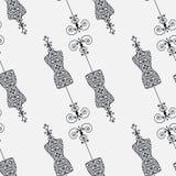 Γραπτό άνευ ραφής σχέδιο με το ομοίωμα του εκλεκτής ποιότητας ράφτη για το θηλυκό σώμα Στοκ Φωτογραφίες