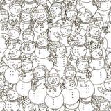 Γραπτό άνευ ραφής σχέδιο χιονανθρώπων διανυσματική απεικόνιση