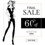 Γραπτό έμβλημα πώλησης μόδας με τη σκιαγραφία μόδας γυναικών, πρότυπο Ιστού αγγελιών μέσων on-line αγορών κοινωνικό με τις όμορφε Στοκ Φωτογραφία
