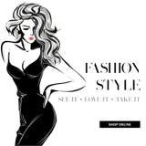 Γραπτό έμβλημα πώλησης μόδας με τη σκιαγραφία μόδας γυναικών, πρότυπο Ιστού αγγελιών μέσων on-line αγορών κοινωνικό με τις όμορφε Στοκ Εικόνες