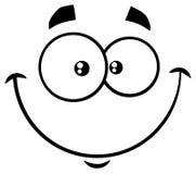 Γραπτό αστείο πρόσωπο κινούμενων σχεδίων χαμόγελου με την ευτυχή έκφραση διανυσματική απεικόνιση