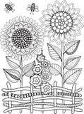 Γραπτό καλοκαίρι sunflowe που απομονώνεται στο λευκό Αφηρημένο υπόβαθρο doodle φιαγμένο από λουλούδια και πεταλούδα Διανυσματική  Στοκ εικόνα με δικαίωμα ελεύθερης χρήσης