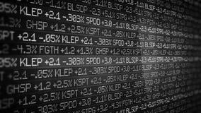 Γραπτό να τυλίξει τηλετύπων χρηματιστηρίου στο λείο περιβάλλον - έννοια Γουώλ Στρητ