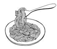 Γραπτό νουντλς στο πιάτο, διανυσματική απεικόνιση, σχέδιο χεριών στοκ εικόνες