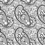 Γραπτό περίκομψο άνευ ραφής λουλούδι Paisley Στοκ Εικόνα