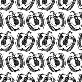 Γραπτό πιπέρι Άνευ ραφής διανυσματική σύσταση σχεδίων κουζινών graphics απεικόνιση αποθεμάτων