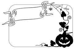 Γραπτό πλαίσιο με τη σκιαγραφία κολοκύθας αποκριών Στοκ φωτογραφία με δικαίωμα ελεύθερης χρήσης