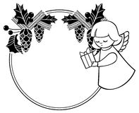 Γραπτό πλαίσιο Χριστουγέννων με το χαριτωμένο άγγελο διάστημα αντιγράφων Στοκ φωτογραφίες με δικαίωμα ελεύθερης χρήσης