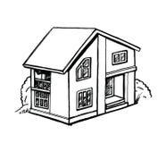 Γραπτό σκίτσο ενός εξοχικού σπιτιού Στοκ Εικόνες