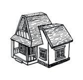 Γραπτό σκίτσο ενός εξοχικού σπιτιού Στοκ εικόνες με δικαίωμα ελεύθερης χρήσης