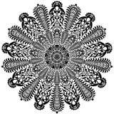 Γραπτό στρογγυλό mandala σχεδίων δαντελλών κύκλων επίσης corel σύρετε το διάνυσμα απεικόνισης Στοκ εικόνες με δικαίωμα ελεύθερης χρήσης