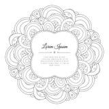 Γραπτό συρμένο χέρι floral πλαίσιο doodle Στοκ εικόνα με δικαίωμα ελεύθερης χρήσης