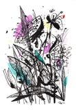 Γραπτό σχέδιο μιας ανθοδέσμης με μερικές εμφάσεις χρώματος Κατάλληλος για μια αφίσα, τυπωμένη ύλη μπλουζών, κάρτα, αφίσα, συσκευά ελεύθερη απεικόνιση δικαιώματος