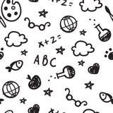 Γραπτό σχέδιο της υποδοχής πίσω στο σχολείο με συρμένες τις χέρι σχολικές προμήθειες πίσω σχολείο ανασκόπησης διάνυσμα Στοκ εικόνα με δικαίωμα ελεύθερης χρήσης
