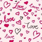 Γραπτό το χέρι διάνυσμα αγάπης, σκιαγράφησε τις καρδιές ελεύθερη απεικόνιση δικαιώματος