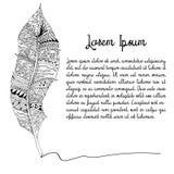 Γραπτό φτερό doodle Στοκ εικόνα με δικαίωμα ελεύθερης χρήσης