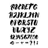 Γραπτό χέρι αλφάβητο με τους αριθμούς και τα σύμβολα Στοκ Εικόνες
