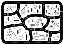 Γραπτό χαλί οδικού παιχνιδιού παιδιών Διανυσματικός χάρτης περιπέτειας ποταμών, βουνών και ξύλων με τα σπίτια και τα ζώα απεικόνιση αποθεμάτων