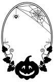 Γραπτό ωοειδές πλαίσιο με τη σκιαγραφία κολοκύθας αποκριών Στοκ εικόνες με δικαίωμα ελεύθερης χρήσης
