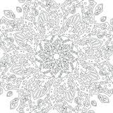 Γραπτό mandala Ενήλικο σχέδιο σελίδων βιβλίων χρωματισμού Στοκ Εικόνες