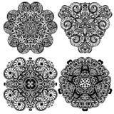 Γραπτό Mandala, φυλετική εθνική διακόσμηση, διανυσματικό ισλαμικό αραβικό ινδικό σύνολο σχεδίων Στοκ Εικόνες