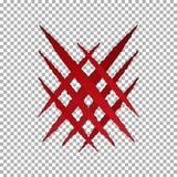 Γρατσουνιά νυχιών δακρυ'ων τεράτων, διαγώνιο σημάδι Έγγραφο σπασιμάτων Llion που απομονώνεται στο διαφανές υπόβαθρο Κόκκινο Cla ελεύθερη απεικόνιση δικαιώματος