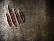Γρατσουνιές νυχιών στο wetal τοίχο Στοκ Εικόνα