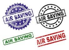 Γρατσουνισμένες κατασκευασμένες σφραγίδες γραμματοσήμων ΑΠΟΤΑΜΊΕΥΣΗΣ AIR απεικόνιση αποθεμάτων