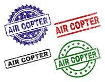 Γρατσουνισμένες κατασκευασμένες σφραγίδες γραμματοσήμων AIR COPTER διανυσματική απεικόνιση