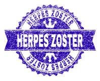 Γρατσουνισμένη κατασκευασμένη σφραγίδα γραμματοσήμων ΕΡΠΗ ZOSTER με την κορδέλλα απεικόνιση αποθεμάτων